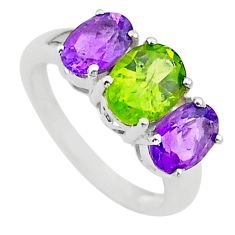 925 silver 5.54cts 3 stone natural green peridot amethyst ring size 9 t43236