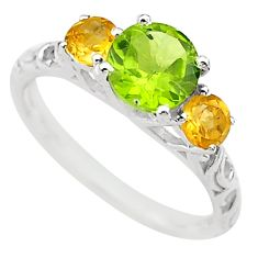 925 silver 3.43cts 3 stone natural peridot yellow citrine ring size 8 t40975