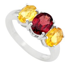 925 silver 6.26cts 3 stone natural red garnet yellow citrine ring size 7 t43252