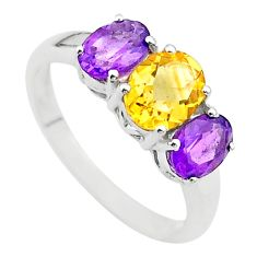 925 silver 5.92cts 3 stone natural yellow citrine amethyst ring size 9 t43239