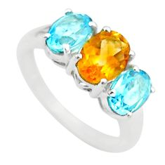 925 silver 5.93cts 3 stone natural yellow citrine blue topaz ring size 7 t43257