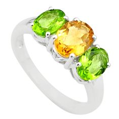 925 silver 6.27cts 3 stone natural yellow citrine peridot ring size 8 t43260