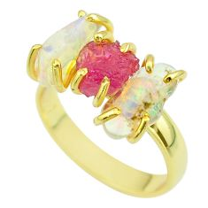 925 silver 3 stone red ruby ethiopian opal raw 14k gold ring size 8 t51240