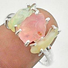 925 silver 8.84cts 3 stone rose quartz ethiopian opal raw ring size 9 t51489