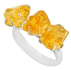 925 silver 9.86cts 3 stone yellow citrine raw fancy shape ring size 7 t7119