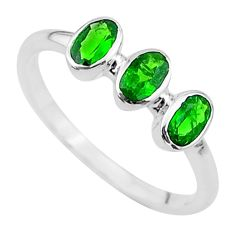 925 silver 2.16cts 3stone natural green tourmaline oval ring size 8 t33099