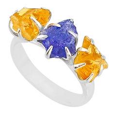925 silver 8.84ct natural blue tanzanite citrine raw 3 stone ring size 7 t7112
