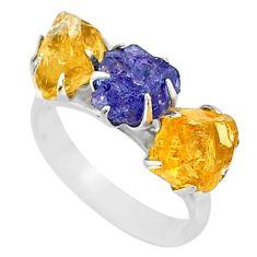 925 silver 9.86ct natural tanzanite citrine raw 3stone ring size 8 t7107