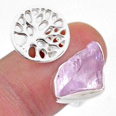 925 silver 6.58cts adjustable kunzite raw tree of life ring size 8.5 t48132