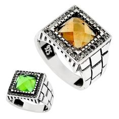 6.77cts green alexandrite (lab) black topaz 925 silver mens ring size 11 c11164
