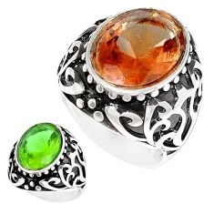 925 silver 10.67cts green alexandrite (lab) solitaire mens ring size 9 c11197