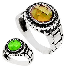 Green alexandrite (lab) topaz 925 silver mens ring jewelry size 11.5 c11213