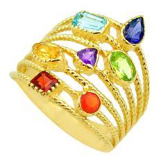 925 silver 4.21cts amethyst cornelian garnet gold chakra ring size 9.5 t50044
