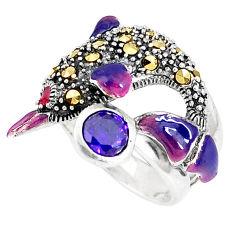 925 silver 1.54cts purple amethyst quartz marcasite dolphin ring size 6.5 c15932