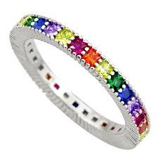 925 silver 3.65cts amethyst ruby quartz eternity ring band size 7.5 c26558