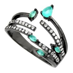 925 silver 2.42cts aqua chalcedony topaz adjustable ring size 7 c9033