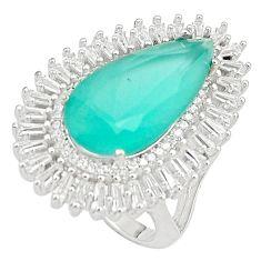 925 silver 18.05cts aqua chalcedony white topaz ring jewelry size 7 c19141