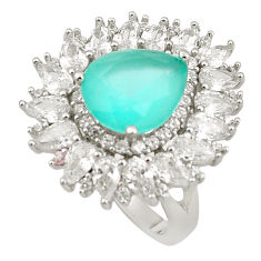 925 silver 12.03cts aqua chalcedony white topaz ring jewelry size 7 c19163