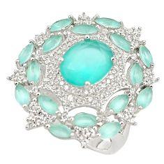 925 silver 11.23cts aqua chalcedony white topaz ring jewelry size 8 c19171