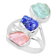 925 silver 11.57cts aquamarine rose quartz sapphire raw ring size 7 r73705