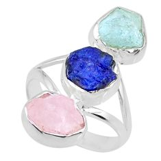 925 silver 12.39cts aquamarine rose quartz sapphire raw ring size 7 r73716