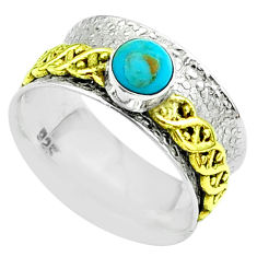 925 silver arizona mohave turquoise two tone spinner band ring size 7.5 t51784