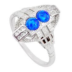 925 silver art deco australian opal (lab) white topaz ring size 9 a96676 c24487