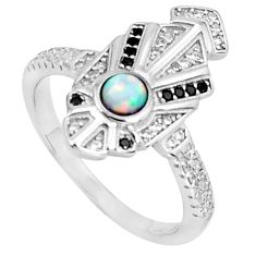 925 silver art deco pink australian opal (lab) topaz ring size 8 a95849 c24610