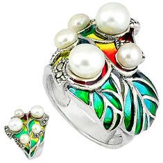 925 silver art nouveau natural white pearl marcasite enamel ring size 7.5 c20780