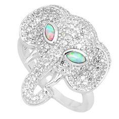 925 silver 2.74cts australian opal (lab) elephant ring size 6.5 a95966 c24626