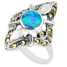 925 silver australian opal (lab) marcasite solitaire ring size 8 a89145 c24432