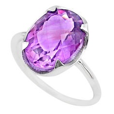 925 silver 6.19cts big natural purple amethyst oval ring size 7.5 t33791