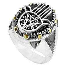 10.74cts black onyx 925 silver hand of god hamsa ring jewelry size 11 c11324