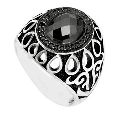 925 silver 4.96cts black onyx oval topaz mens ring jewelry size 10 c11399
