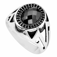 925 silver 4.35cts black onyx topaz mens ring jewelry size 9.5 c11503