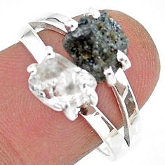 925 silver 7.14cts black rhodium natural diamond raw fancy ring size 8 t15377