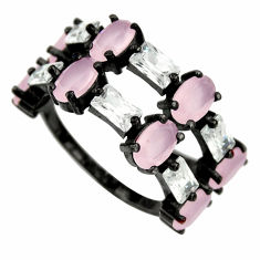 925 silver 10.39cts black rhodium pink chalcedony ring size 6.5 c9003