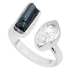 925 silver black tourmaline herkimer diamond adjustable ring size 8.5 t9892
