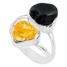 925 silver 10.31cts black tourmaline rough citrine rough ring size 7 t20979