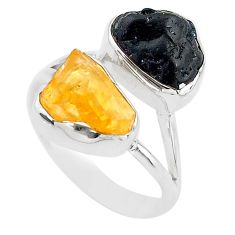 925 silver 10.31cts black tourmaline rough citrine rough ring size 8 t20974