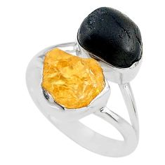 925 silver 10.31cts black tourmaline rough citrine rough ring size 8 t20977