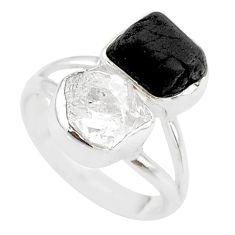 925 silver 9.96cts black tourmaline raw herkimer diamond ring size 7 t21024