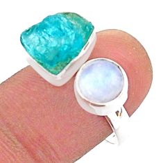 925 silver 10.31cts blue apatite raw moonstone adjustable ring size 8 t38171