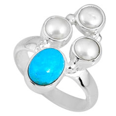 925 silver 4.69cts blue arizona mohave turquoise oval pearl ring size 6 r58403