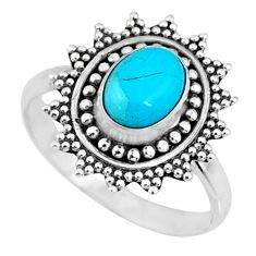 925 silver 2.17cts blue arizona mohave turquoise solitaire ring size 7.5 r57445