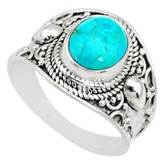 925 silver 4.02cts blue arizona mohave turquoise solitaire ring size 9.5 r74747
