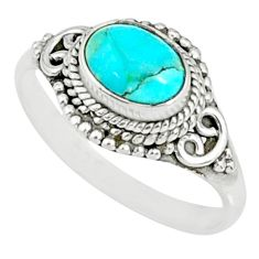 925 silver 1.96cts blue arizona mohave turquoise solitaire ring size 8.5 r84004