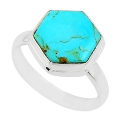 925 silver 5.22cts blue arizona mohave turquoise solitaire ring size 6 r80138