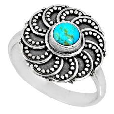 925 silver 0.85cts blue arizona mohave turquoise solitaire ring size 8 r57908