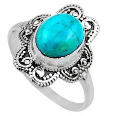 925 silver 4.06cts blue arizona mohave turquoise solitaire ring size 9 r54488
